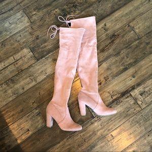 Pink suede over the knee boots tie